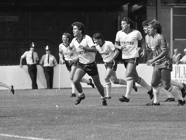 PNE sporting the 1983/84 kit with Pontins as sponsor against Bournemouth