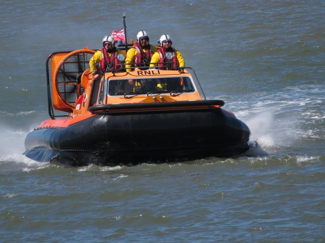 The RNLI Lifeboat out in Morecambe Bay. Picture by Doris Redfern of Westgate Caravan Park