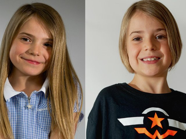 Like many 7-year-old girls, Eden Heslop was very fond of her long, blonde hair. But, after watching a charity video, she took the brave decision to cut it short. Photos: Ian Heslop
