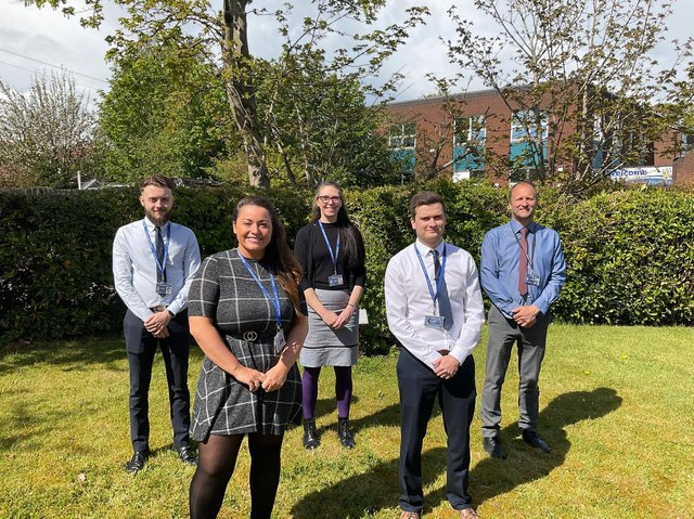 Some of Albany Academy's teachers have received months of training to help students achieve and will share this new knowledge with colleagues and in the classroom. From left to right: Damon Steele, Sarah Crompton, Louise Devlin, Lewis Eaves, Jason McNaboe.