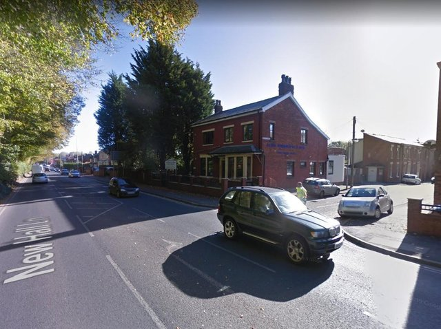 The crash happened in New Hall Lane, Preston at around midday yesterday (Tuesday, May 18), close to the junction with Mornington Road. Pic: Google