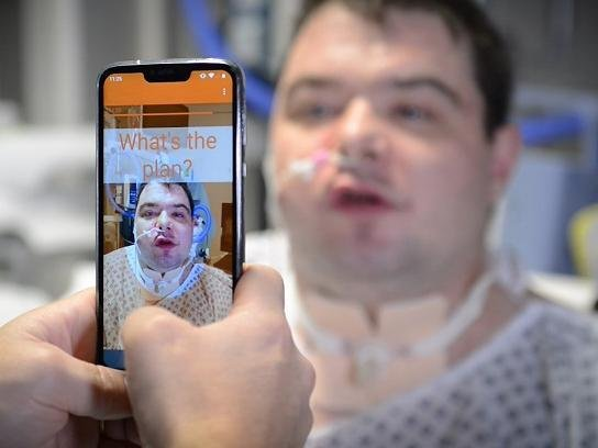 Nathan Armstrong, from Oswaldtwistle near Blackburn, has suffered from paralysis of his vocal cords since he was a child. He used the lipreading SRAVI app while in hospital.
