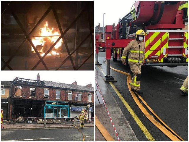 Fire crews have been tackling a blaze at a shop in Leyland overnight.