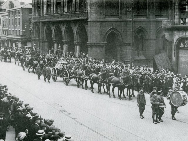 Pte William Young VC's funeral procession passes Preston Town Hall
