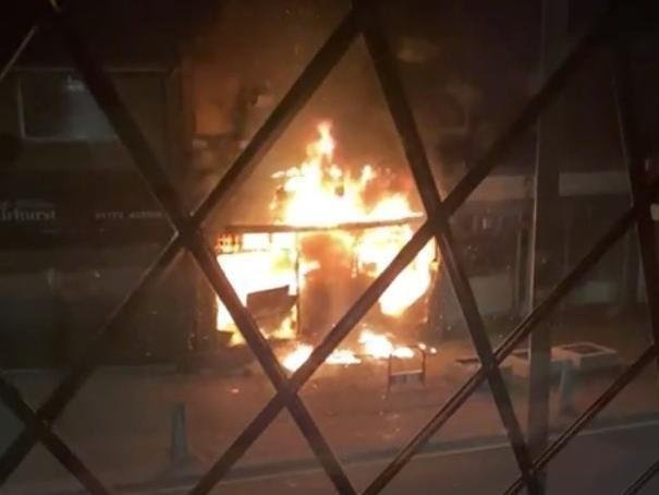 The building was engulfed in flames within minutes of the fire breaking out.