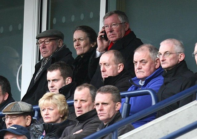 Sir Alex Ferguson (top, right), sitting close to PNE owner Trevor Hemmings, at Deepdale in 2010
