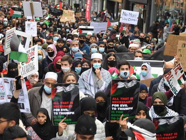The Free Palestine march in Preston