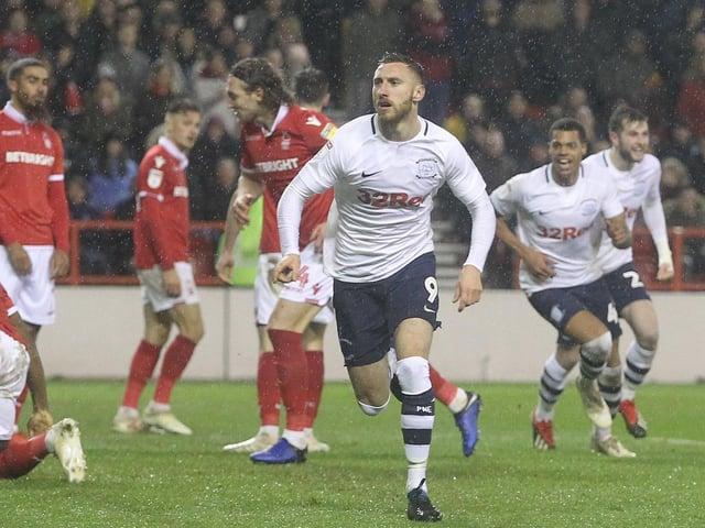 Louis Moult scores Preston North End's winner at Nottingham Forest in December 2018