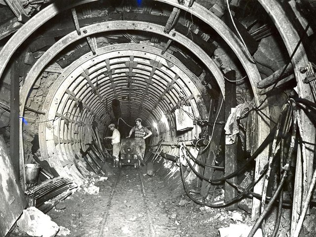 Archive photo of Haweswater Aqueduct under construction.