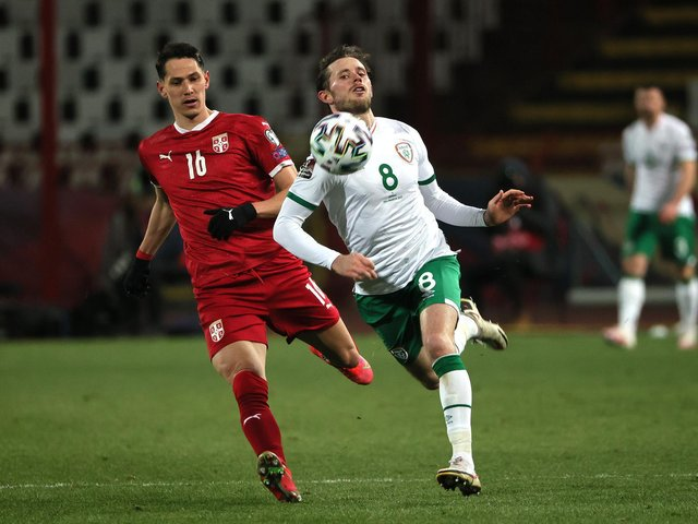 Alan Browne in action against Serbia