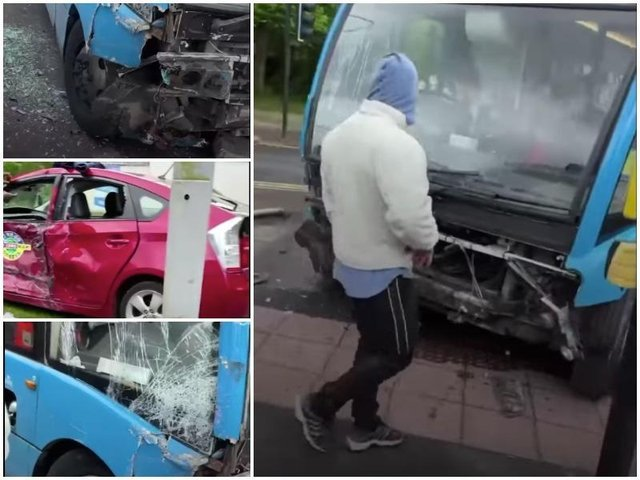 Pictures from the scene of the crash involving a bus and a taxi in Aqueduct Street, Preston on Tuesday morning (May 25)