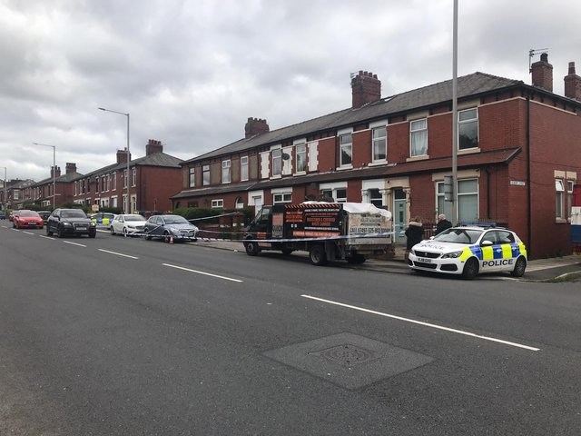 Police at the scene of an assault in Tulketh Brow, Preston where a 23-year-old man was attacked at around 6.30am on Saturday morning (May 22)