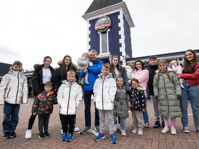 Parents of Britain's biggest family, Sue and Noel Radford, visit Alton Towers Resort with 15 of their children to test out the rides and hotel rooms ahead of a post lockdown half term for the theme park. Issue date: Tuesday May 25, 2021. PA Photo. Photo credit should read: Jeff Spicer/PA Wire