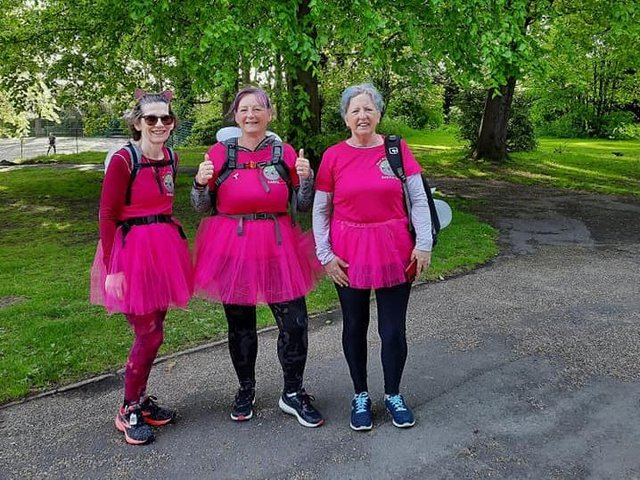 Carol, Susan and and Sheralee tackled the 26-mile walk in pink tutus and fairy wings