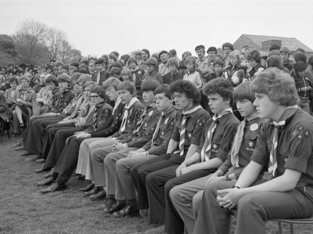 West Lancashire's top scouts line up for their big day - to be presented with their Chief Scout awards. Over 1,000 scouts packed the Waddecar County campsite in Clitheroe for the presentation by Mr David Hall, director of scout training at the headquarters training department, Gilwell Park