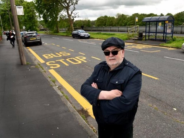 Former police officer Steve Singleton at the freshly painted Broadgate bus stop.