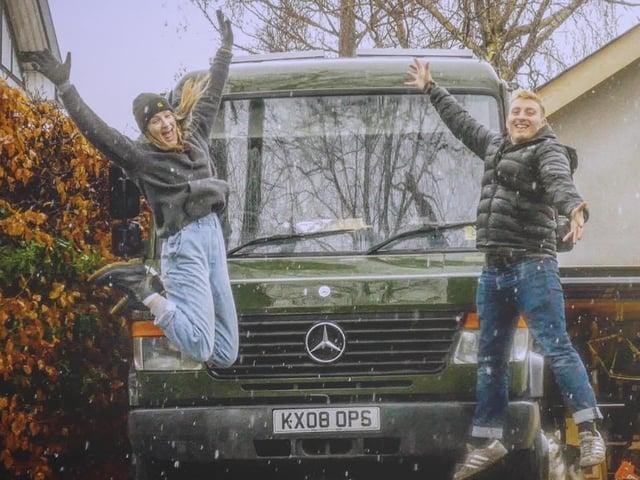 Eden and Nick with their van