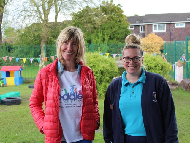 Victoria Adams (left) and Nicola Barlow, deputy manager of Toddlers Children's Nursery