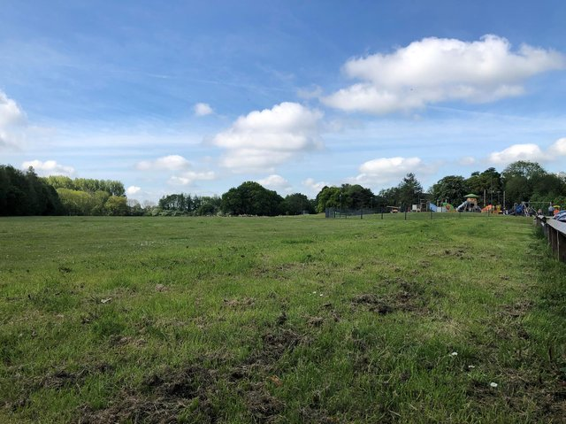 Area for development of 3G pitches with Withy Grove play area to the right