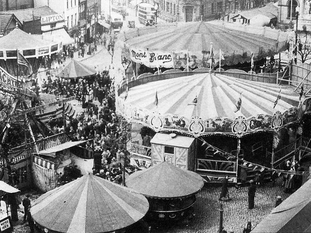 Whit Fair on the Flag Market, in Preston, in the early 1920s