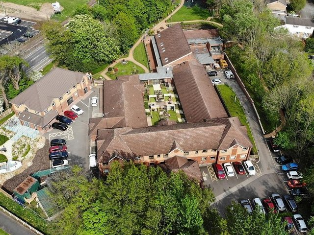 An aerial shot of the hospice in Astley Village