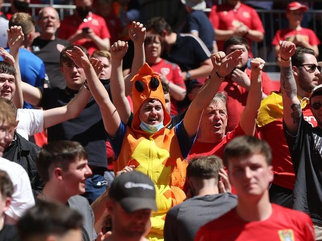 Morecambe fans at Wembley (Photo: Rob Newell/CameraSport)