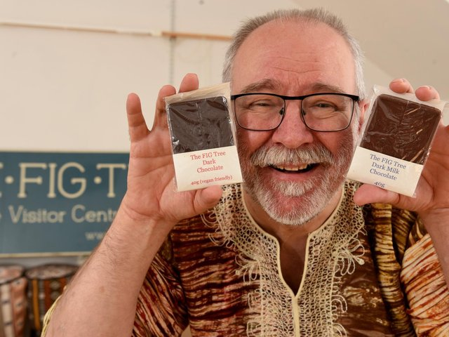 Bruce Crowther pictured with the Fair Trade bean to bar chocolate made by The FIG Tree (photo: Neil Cross)