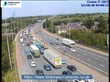 Congestion near Leyland this afternoon (Tuesday, June 1)