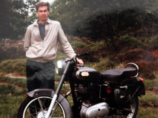 Michael with his Royal Enfield Bullet at the end of his 4,000-mile bike ride from India to the UK in 1980.