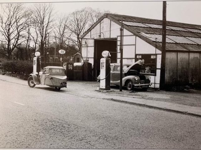 T.N.T garage around 1955. Parked on the garage forecourt is a B.S.A three-wheeler, this belonged to Michael Bruce, Bernard's son, who because he only had a motor cycle licence had to blank off the reverse gear with a metal plate.