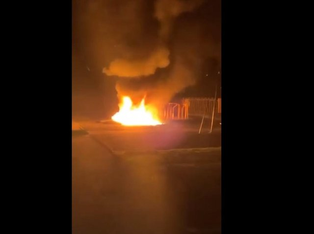 The fire at Plungington 'rec' play area in Brook Street, Preston last night (Thursday, June 3). Pic credit: Dave Smith