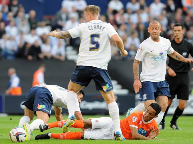 Action from Preston North End's League Cup win over Blackpool at Deepdale in August 2013