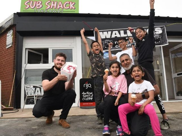 Izy Ahmed pictured with his children Mustafa, Zakariyah, Zulekha, Halima and Fatimah, is having a charity launch of his ice cream parlour, supported by  Phil Wallings