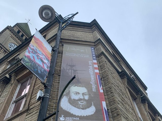 The Mayflower 400 banner outside Chorley Town Hall