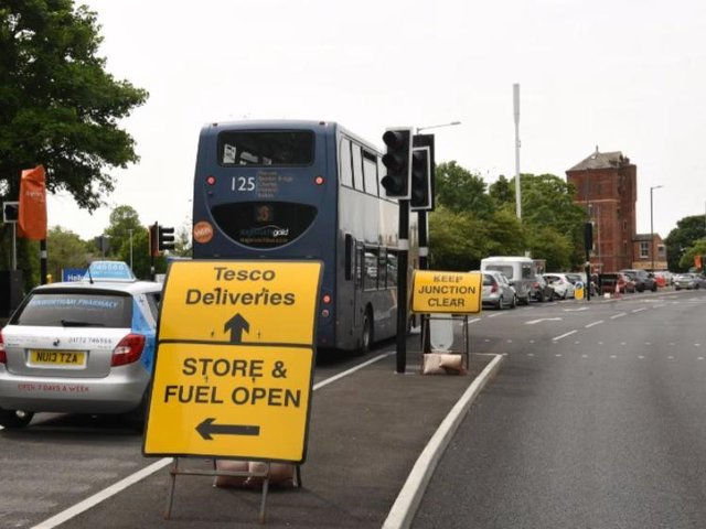 Queuing traffic at temporary traffic lights on Liverpool Road.