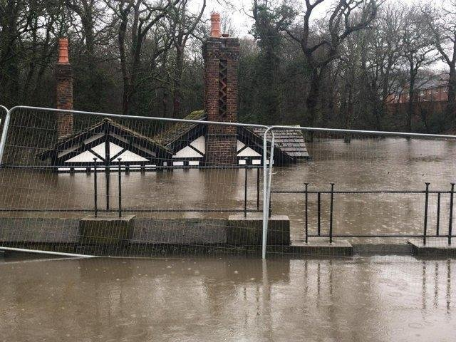 Ackhurst Lodge almost disappeared from view during flooding in January 2021