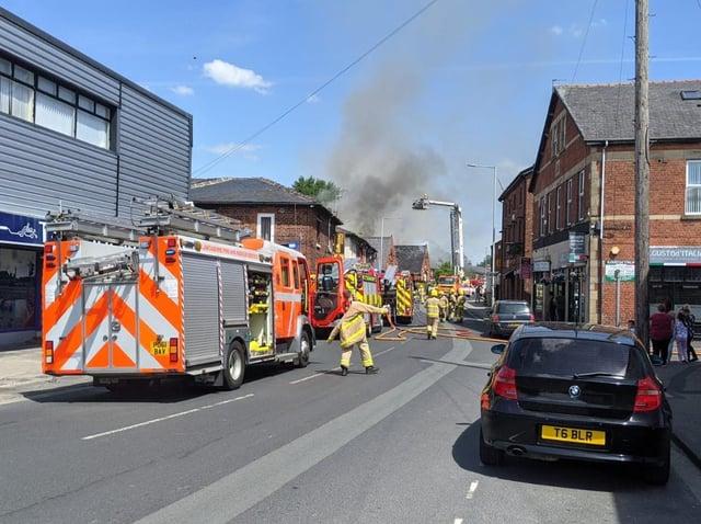 Firefighters at the scene in School Lane.