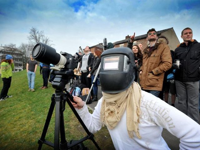 Johannes Boges on Maudland Bank, Preston, to watch the eclipse of the sun in 2015