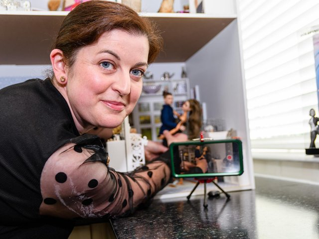 Clare Rawling who films her Barbie collection using stop-motion animation techniques and uploads them for an online community of collectors