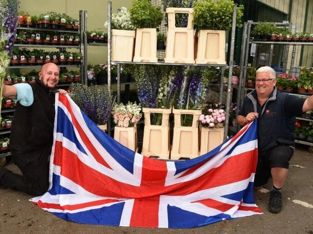 Nick Smith of Peter H Smith  promoting British Flower week, with Sales Manager Mark Shaw, left