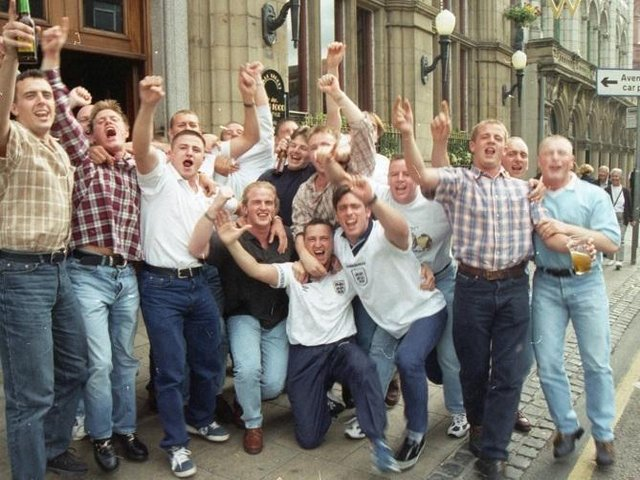 Preston lads celebrates England's win on June 22 1996