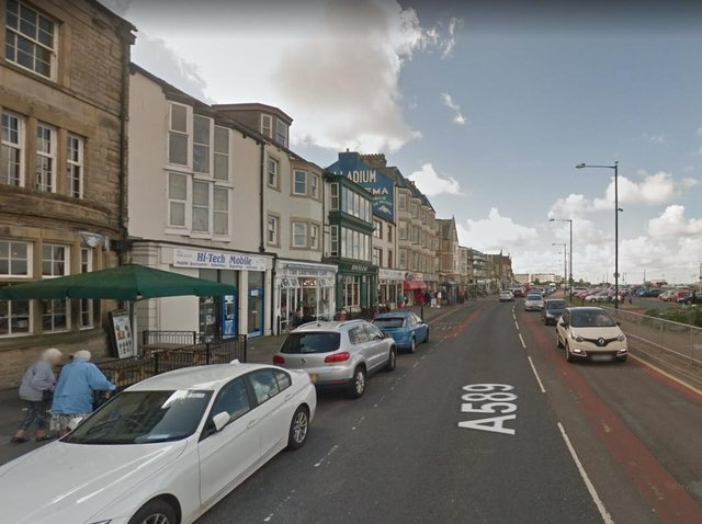 Police closed Marine Road Central in Morecambe after the crash which injured two pedestrians on the seafront at around 12.50pm. Pic: Google