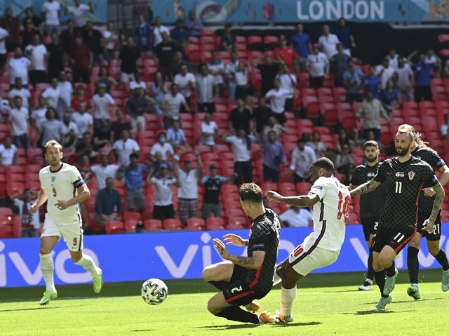 Raheem Sterling fires home the winner for England against Croatia