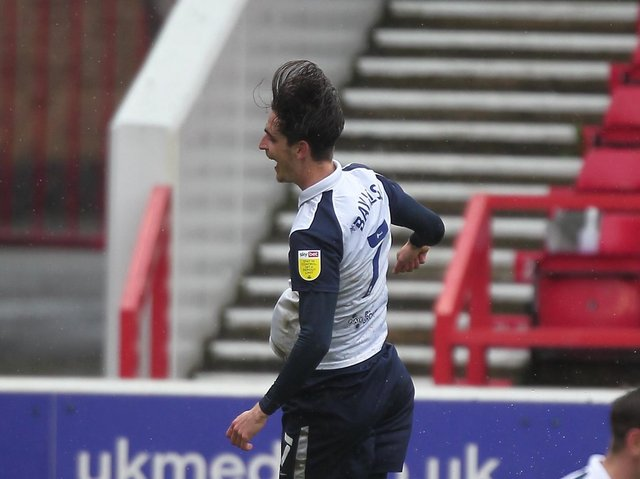 Tom Bayliss celebrates scoring for Preston North End against Nottingham Forest at the City Ground in May