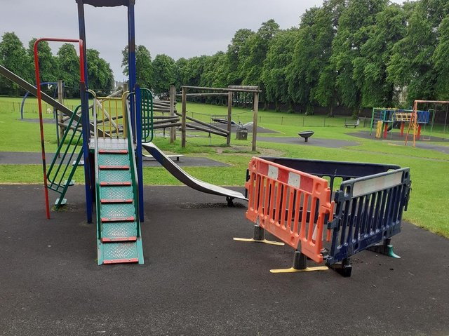 Safety barriers have been placed around the damaged equipment which is now out of use for youngsters