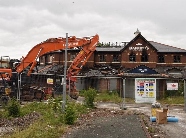 Demolition work begins at the derelict Baffito's restaurant at Preston Docks.