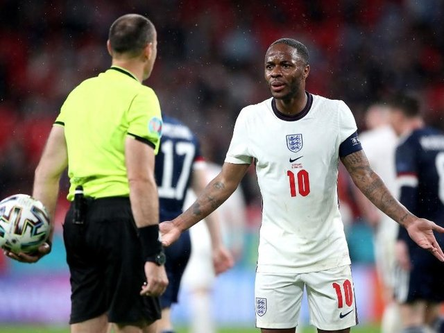 Raheem Sterling protests to the referee during the England v Scotland Euros clash at Wembley