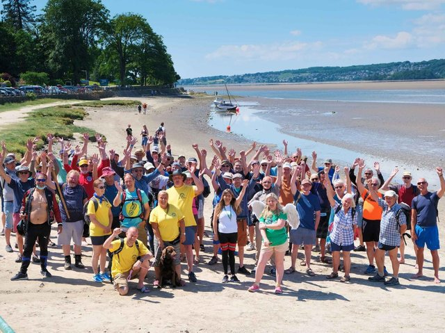 The walkers at Arnside before setting off on Morecambe Bay's first ever naked cross bay walk.