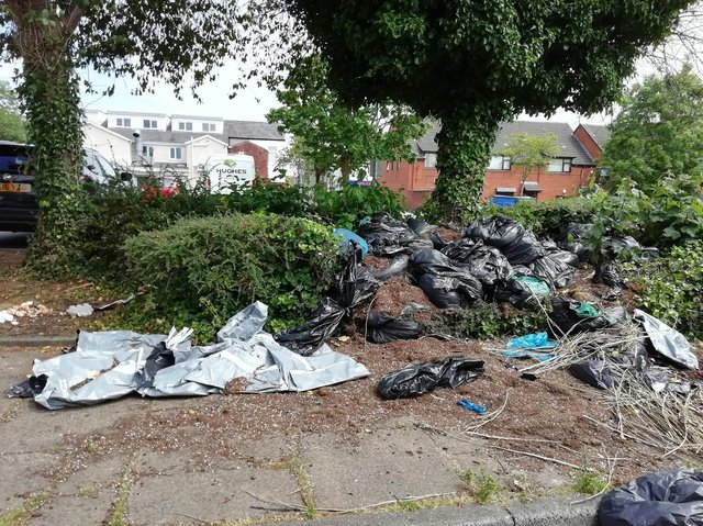 Bin bags full of cannabis trimmings and waste from an illegal grow have been found dumped outside a community centre in Plungington