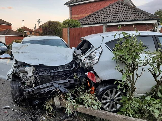 """Startled residents in Edward Street ran out of their homes on Saturday night (June 19) after hearing a """"massive bang"""", and found a scene of carnage on a neighbour's driveway. Pic: Shane King"""